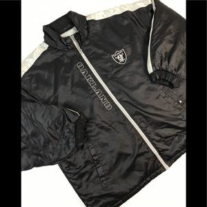 OAKLAND RAIDERS PUFFER JACKET XL BLACK LOS ANGELES